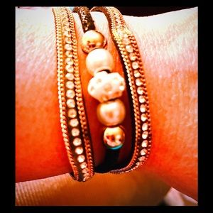 Jewelry - Black & Gold Beaded Triple-Strand Bracelet